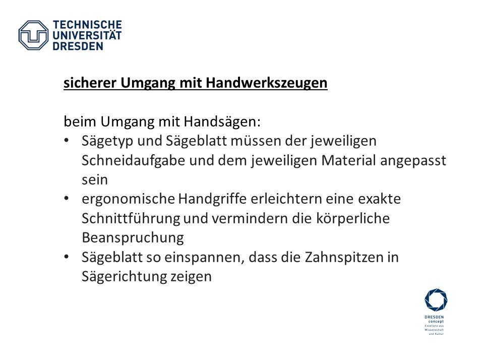 sicherer Umgang mit Handwerkszeugen beim Umgang mit Handsägen: Sägetyp und Sägeblatt müssen der jeweiligen Schneidaufgabe und dem jeweiligen Material