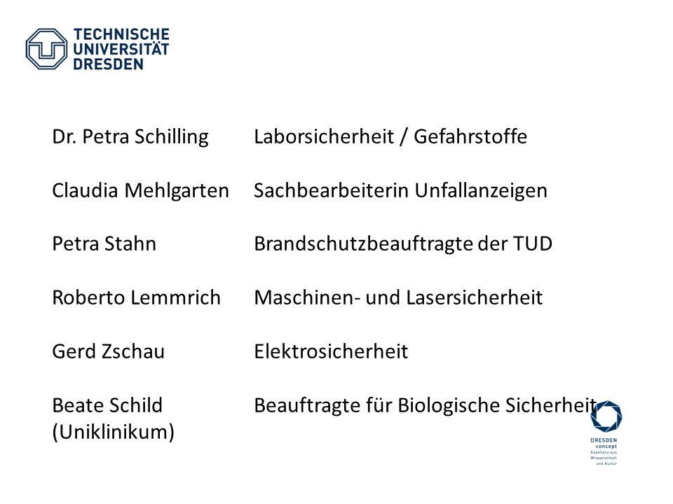Dr. Petra Schilling Laborsicherheit / Gefahrstoffe Claudia MehlgartenSachbearbeiterin Unfallanzeigen Petra StahnBrandschutzbeauftragte der TUD Roberto