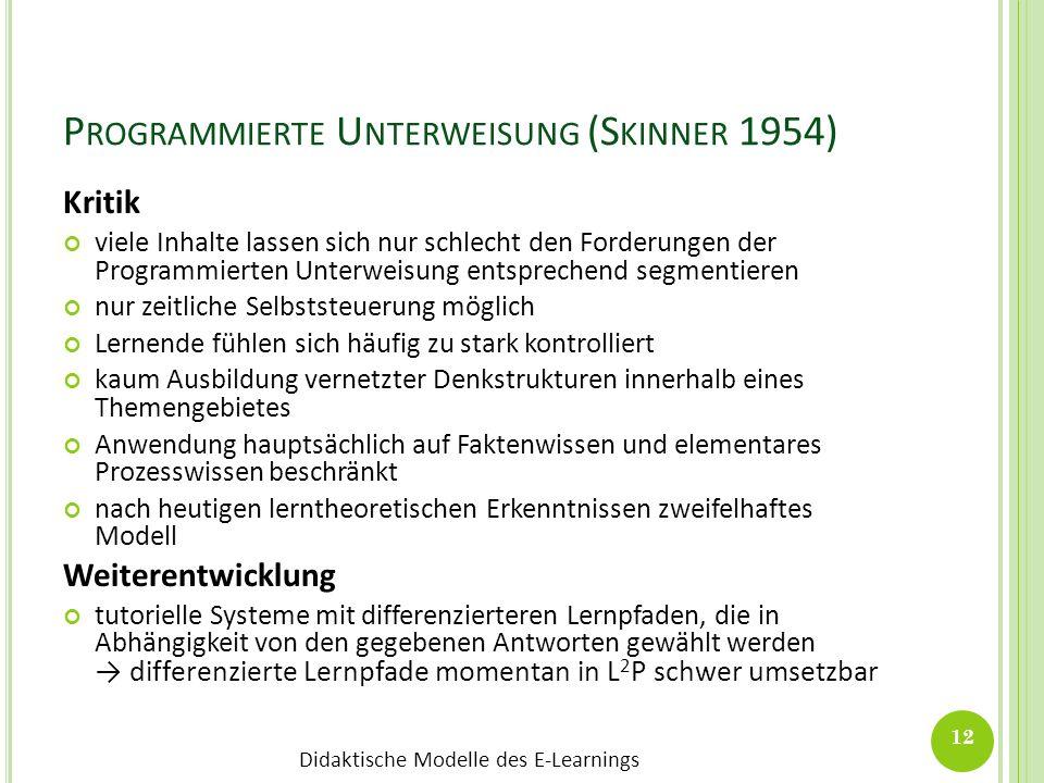 Didaktische Modelle des E-Learnings P ROGRAMMIERTE U NTERWEISUNG (S KINNER 1954) Kritik viele Inhalte lassen sich nur schlecht den Forderungen der Pro