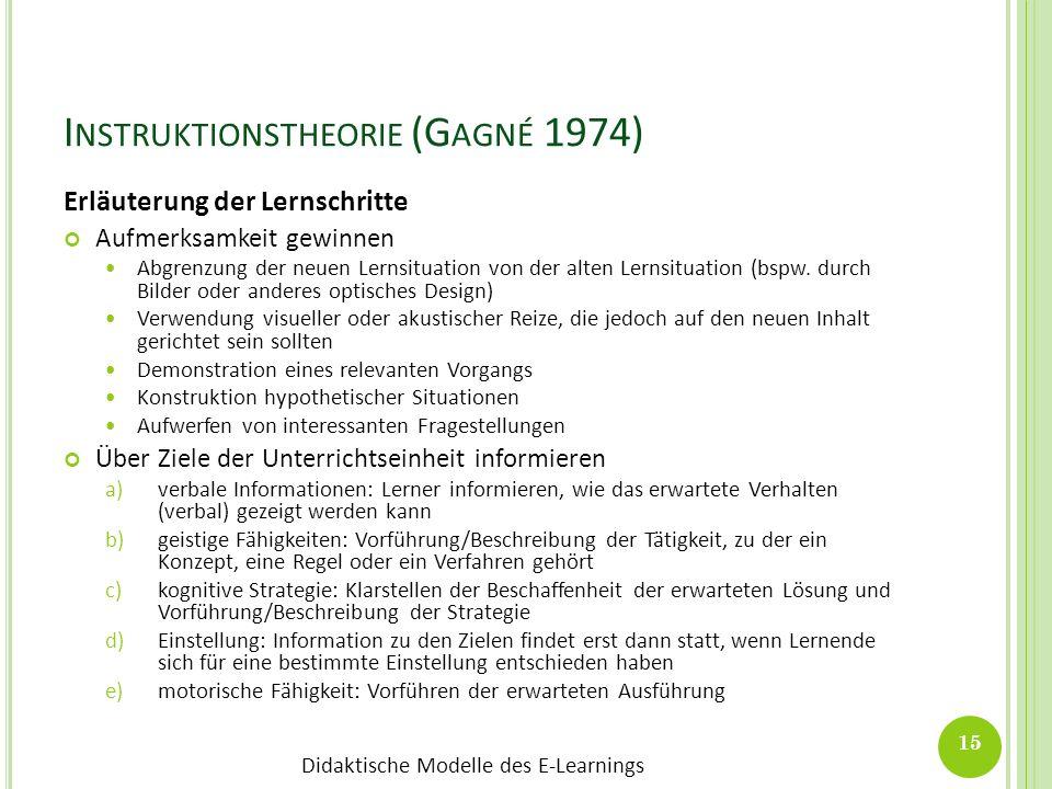 Didaktische Modelle des E-Learnings I NSTRUKTIONSTHEORIE (G AGNÉ 1974) Erläuterung der Lernschritte Aufmerksamkeit gewinnen Abgrenzung der neuen Lerns