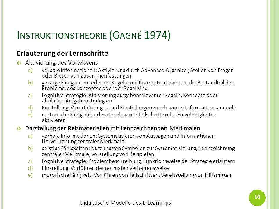 Didaktische Modelle des E-Learnings I NSTRUKTIONSTHEORIE (G AGNÉ 1974) Erläuterung der Lernschritte Aktivierung des Vorwissens a)verbale Informationen