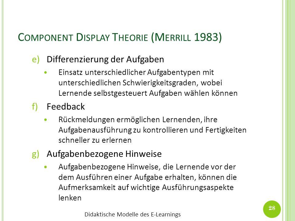 Didaktische Modelle des E-Learnings C OMPONENT D ISPLAY T HEORIE (M ERRILL 1983) e)Differenzierung der Aufgaben Einsatz unterschiedlicher Aufgabentype