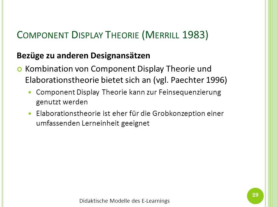 Didaktische Modelle des E-Learnings C OMPONENT D ISPLAY T HEORIE (M ERRILL 1983) Bezüge zu anderen Designansätzen Kombination von Component Display Th