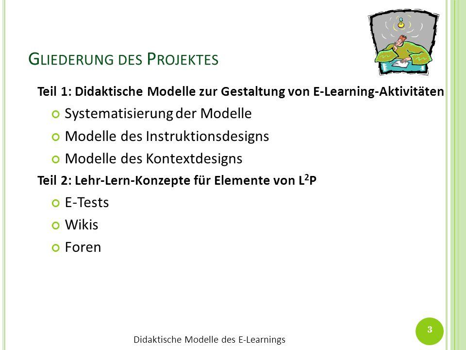 Didaktische Modelle des E-Learnings G LIEDERUNG DES P ROJEKTES Teil 1: Didaktische Modelle zur Gestaltung von E-Learning-Aktivitäten Systematisierung
