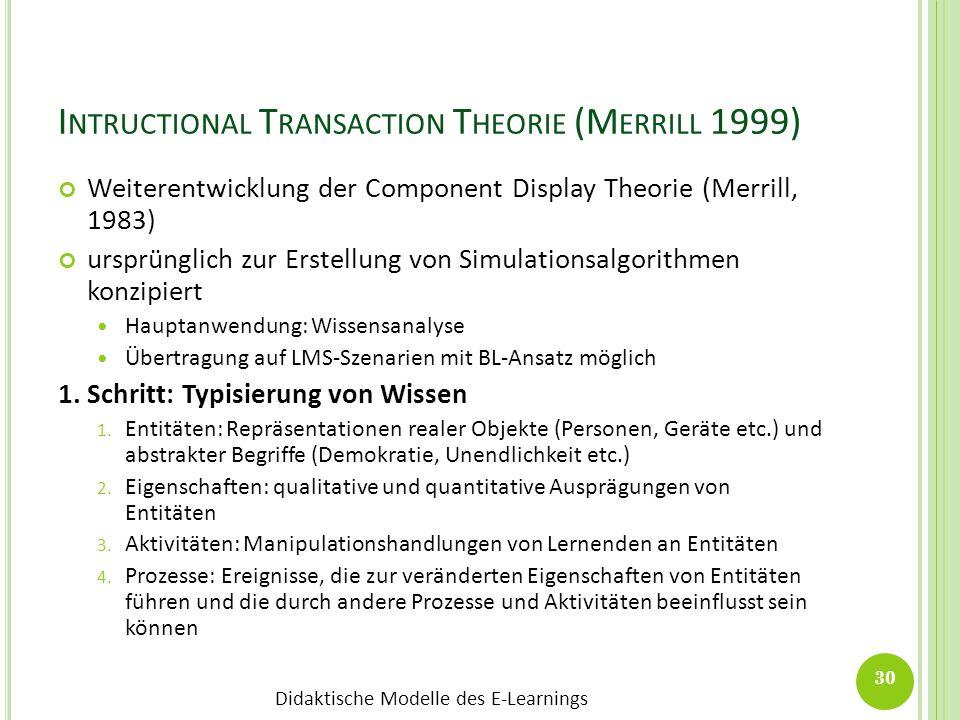 Didaktische Modelle des E-Learnings I NTRUCTIONAL T RANSACTION T HEORIE (M ERRILL 1999) Weiterentwicklung der Component Display Theorie (Merrill, 1983