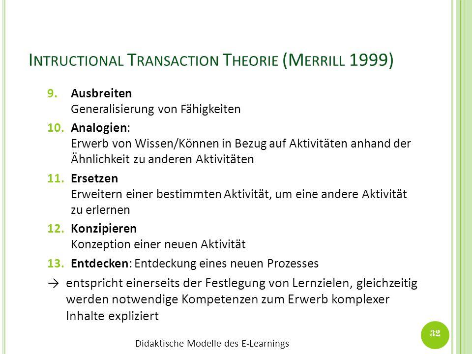 Didaktische Modelle des E-Learnings I NTRUCTIONAL T RANSACTION T HEORIE (M ERRILL 1999) 9.Ausbreiten Generalisierung von Fähigkeiten 10.Analogien: Erw