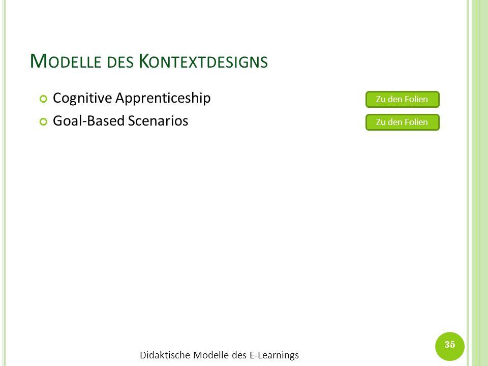 Didaktische Modelle des E-Learnings M ODELLE DES K ONTEXTDESIGNS Cognitive Apprenticeship Goal-Based Scenarios 35 Zu den Folien