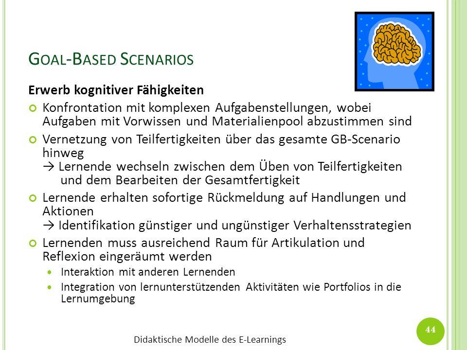 Didaktische Modelle des E-Learnings G OAL -B ASED S CENARIOS Erwerb kognitiver Fähigkeiten Konfrontation mit komplexen Aufgabenstellungen, wobei Aufga