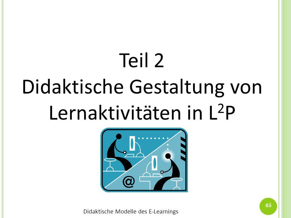 Didaktische Modelle des E-Learnings 45 Teil 2 Didaktische Gestaltung von Lernaktivitäten in L 2 P
