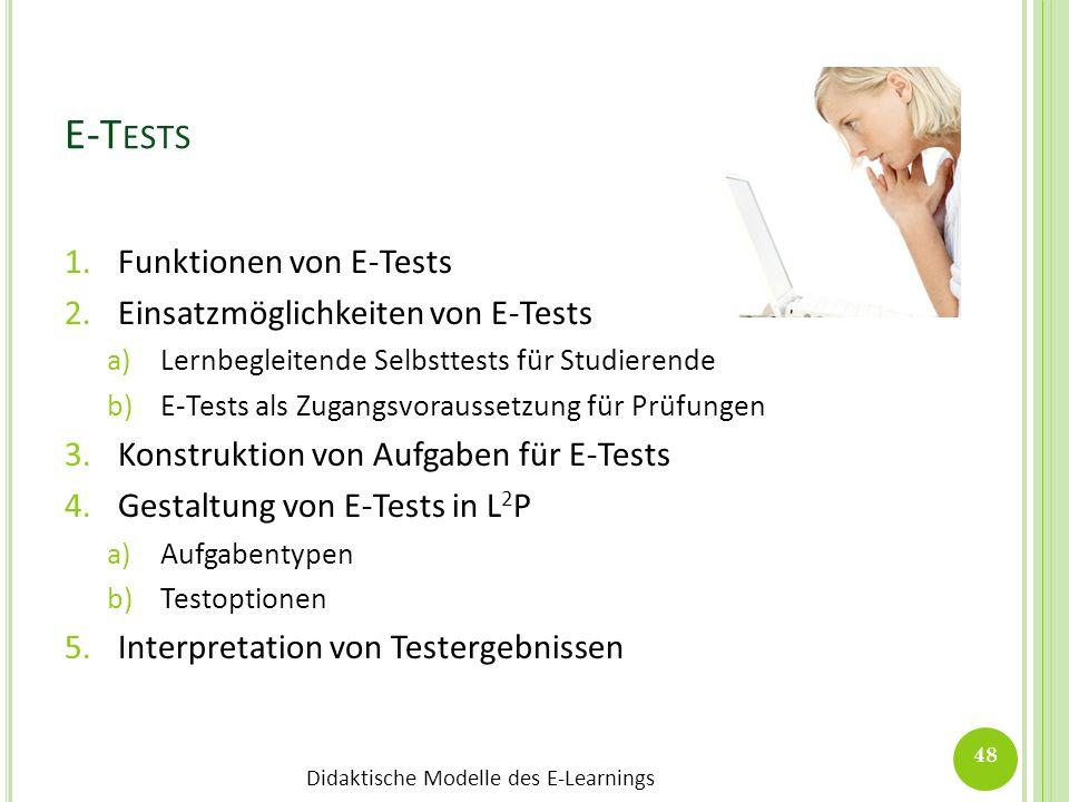 Didaktische Modelle des E-Learnings 1.Funktionen von E-Tests 2.Einsatzmöglichkeiten von E-Tests a)Lernbegleitende Selbsttests für Studierende b)E-Test