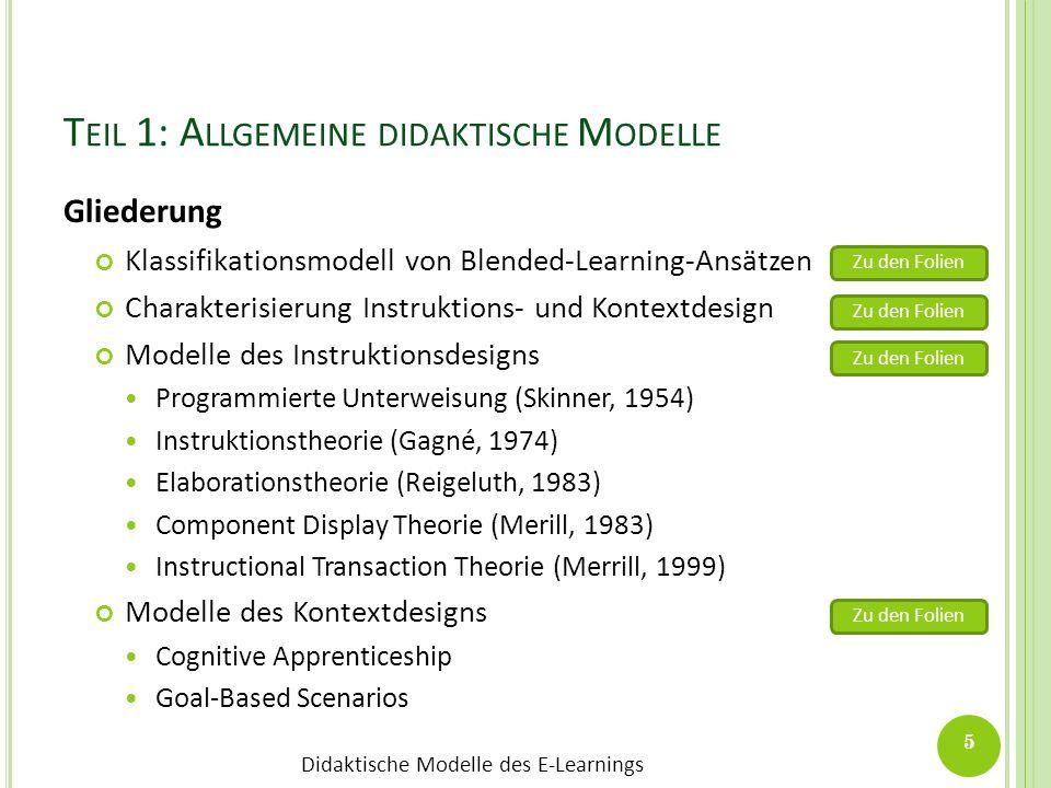 Didaktische Modelle des E-Learnings T EIL 1: A LLGEMEINE DIDAKTISCHE M ODELLE Gliederung Klassifikationsmodell von Blended-Learning-Ansätzen Charakter