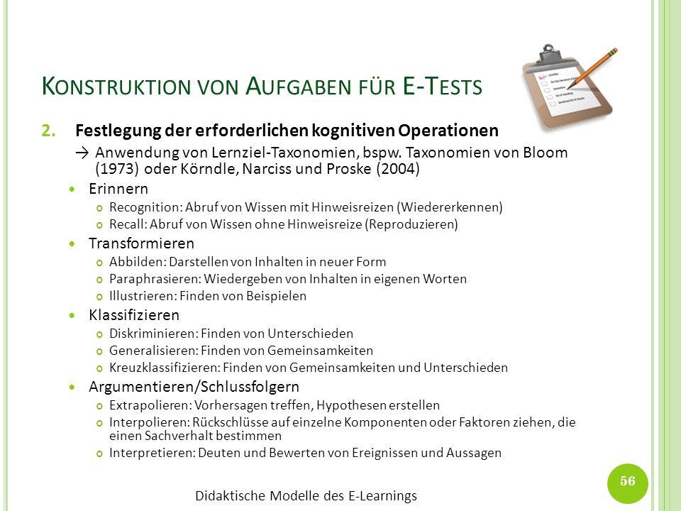 Didaktische Modelle des E-Learnings K ONSTRUKTION VON A UFGABEN FÜR E-T ESTS 2.Festlegung der erforderlichen kognitiven Operationen Anwendung von Lern