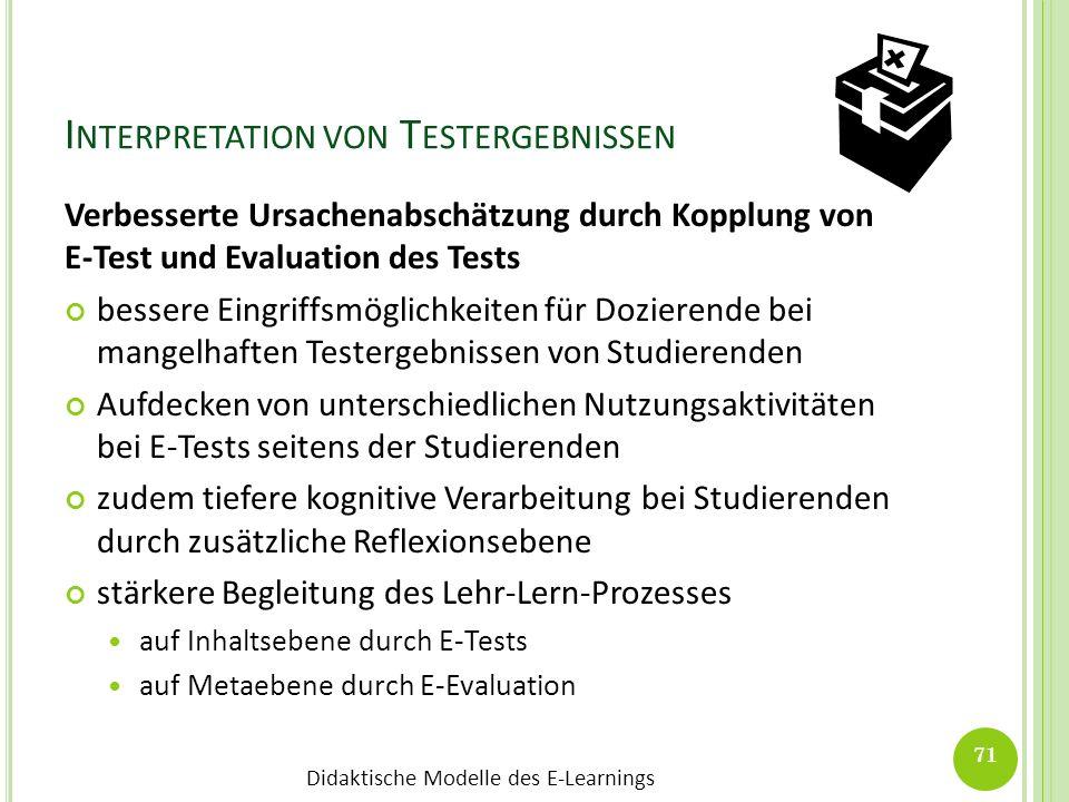 Didaktische Modelle des E-Learnings I NTERPRETATION VON T ESTERGEBNISSEN Verbesserte Ursachenabschätzung durch Kopplung von E-Test und Evaluation des