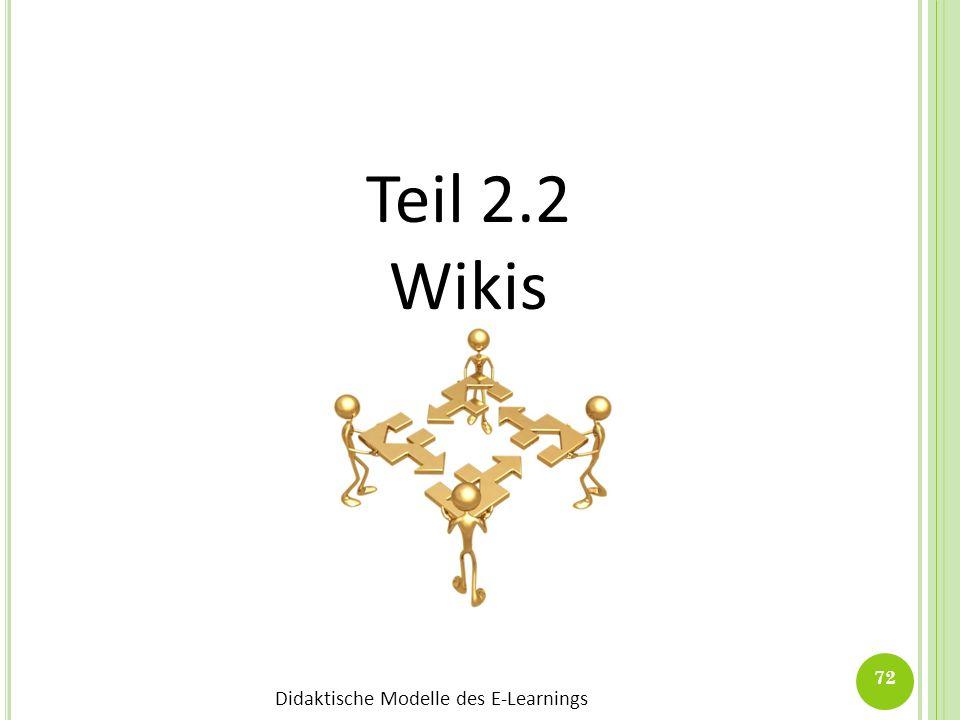 Didaktische Modelle des E-Learnings 72 Teil 2.2 Wikis