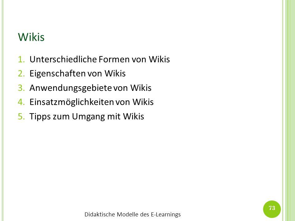 Didaktische Modelle des E-Learnings Wikis 1.Unterschiedliche Formen von Wikis 2.Eigenschaften von Wikis 3.Anwendungsgebiete von Wikis 4.Einsatzmöglich