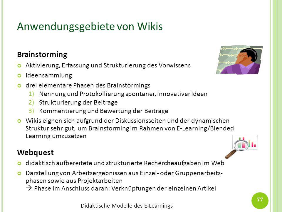 Didaktische Modelle des E-Learnings Anwendungsgebiete von Wikis Brainstorming Aktivierung, Erfassung und Strukturierung des Vorwissens Ideensammlung d
