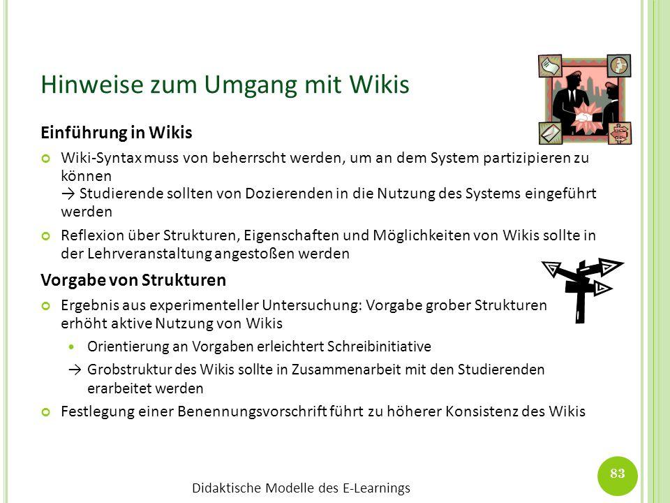 Didaktische Modelle des E-Learnings Hinweise zum Umgang mit Wikis Einführung in Wikis Wiki-Syntax muss von beherrscht werden, um an dem System partizi