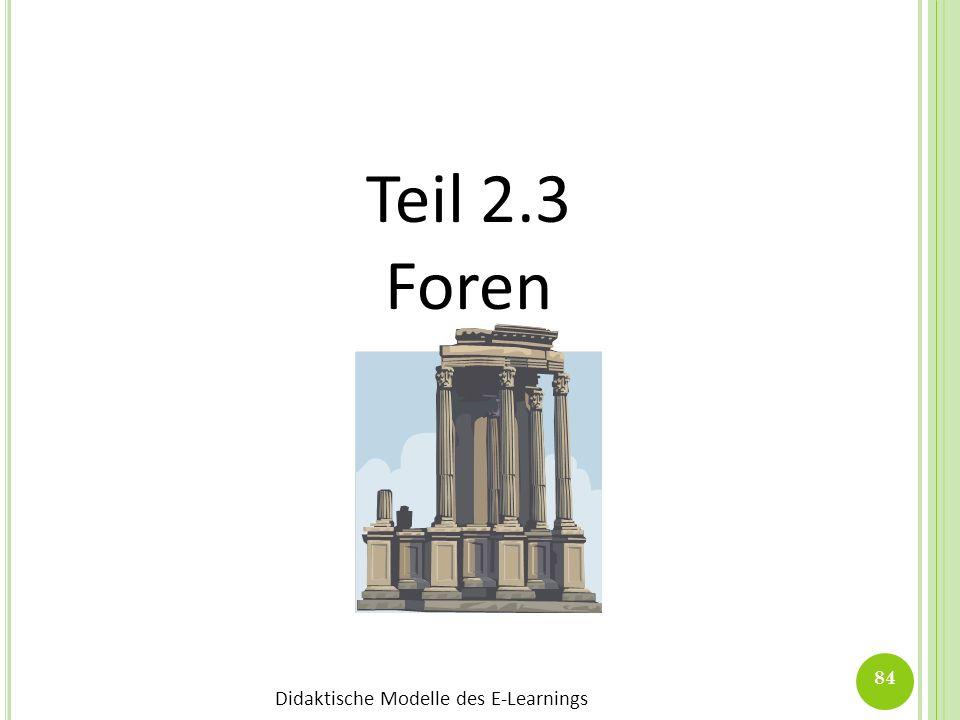 Didaktische Modelle des E-Learnings 84 Teil 2.3 Foren