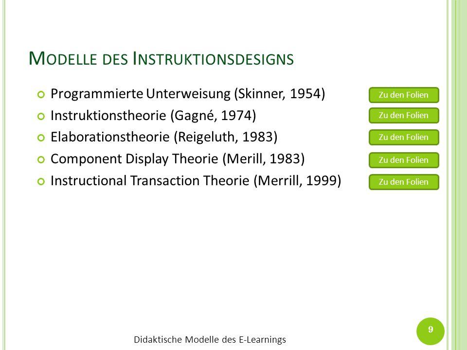 Didaktische Modelle des E-Learnings M ODELLE DES I NSTRUKTIONSDESIGNS Programmierte Unterweisung (Skinner, 1954) Instruktionstheorie (Gagné, 1974) Ela