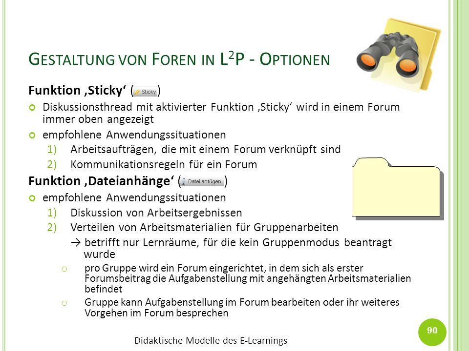 Didaktische Modelle des E-Learnings G ESTALTUNG VON F OREN IN L 2 P - O PTIONEN Funktion Sticky ( ) Diskussionsthread mit aktivierter Funktion Sticky