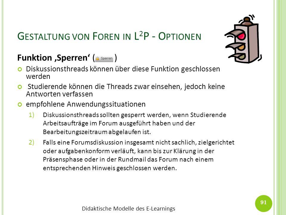 Didaktische Modelle des E-Learnings G ESTALTUNG VON F OREN IN L 2 P - O PTIONEN Funktion Sperren ( ) Diskussionsthreads können über diese Funktion ges