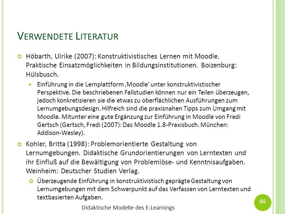 Didaktische Modelle des E-Learnings V ERWENDETE L ITERATUR Höbarth, Ulrike (2007): Konstruktivistisches Lernen mit Moodle. Praktische Einsatzmöglichke