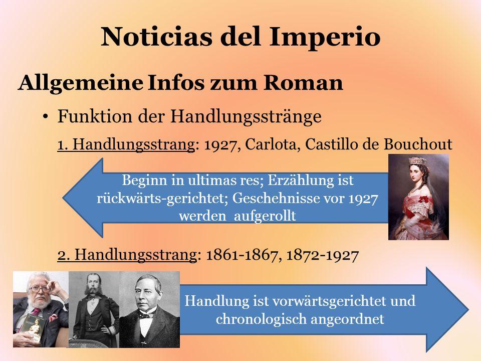 Noticias del Imperio Allgemeine Infos zum Roman Funktion der Handlungsstränge 1. Handlungsstrang: 1927, Carlota, Castillo de Bouchout 2. Handlungsstra