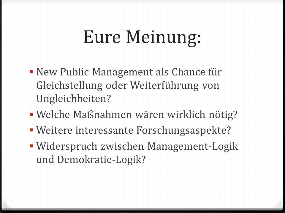 Eure Meinung: New Public Management als Chance für Gleichstellung oder Weiterführung von Ungleichheiten.