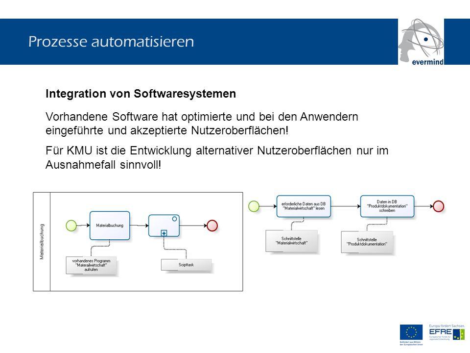 Prozesse automatisieren Integration von Softwaresystemen Vorhandene Software hat optimierte und bei den Anwendern eingeführte und akzeptierte Nutzerob
