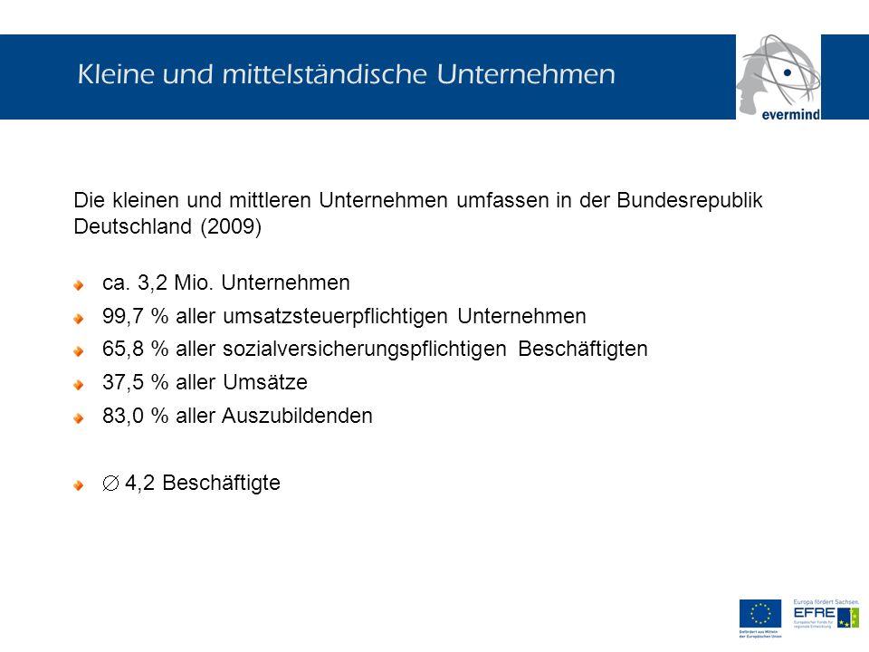 Kleine und mittelständische Unternehmen Die kleinen und mittleren Unternehmen umfassen in der Bundesrepublik Deutschland (2009) ca. 3,2 Mio. Unternehm