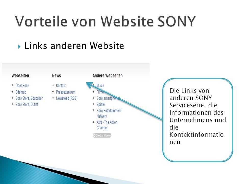 Links anderen Website Die Links von anderen SONY Serviceserie, die Informationen des Unternehmens und die Kontektinformatio nen