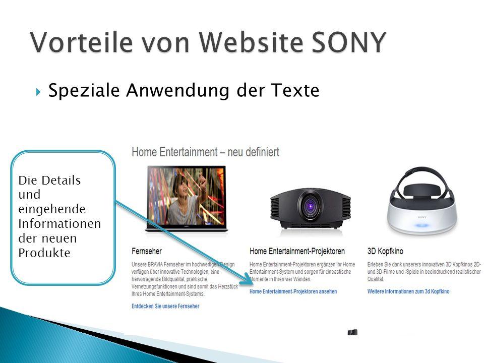 Speziale Anwendung der Texte Die Details und eingehende Informationen der neuen Produkte