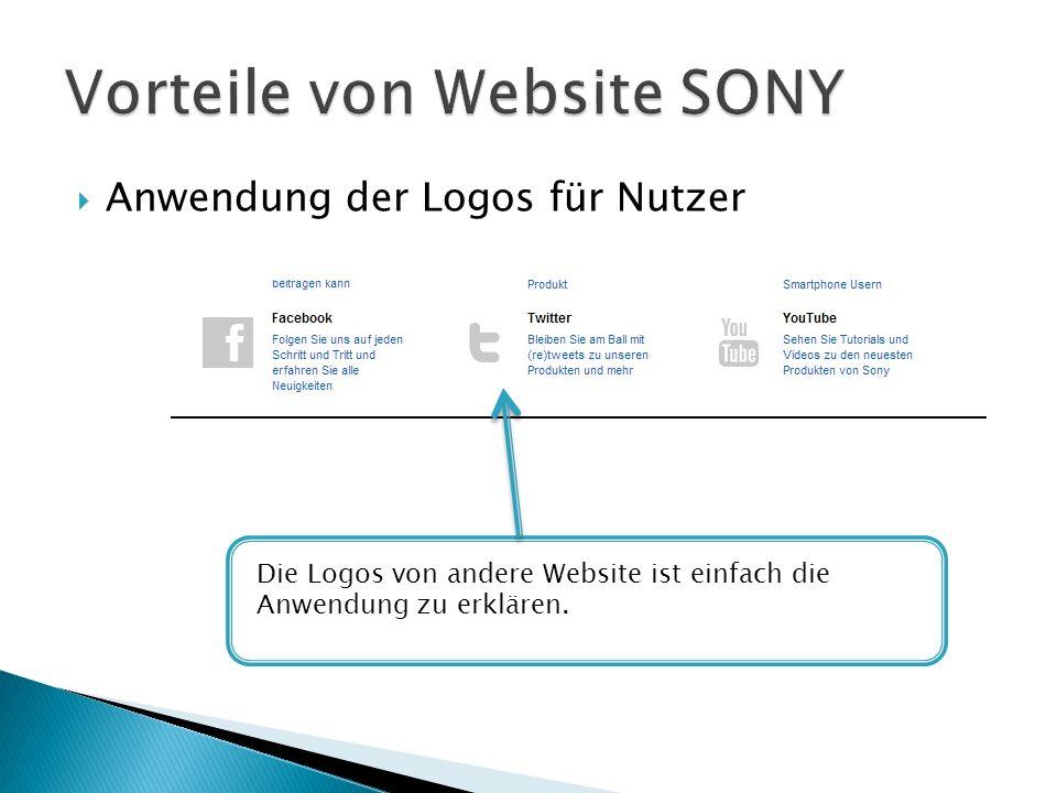 Anwendung der Logos für Nutzer Die Logos von andere Website ist einfach die Anwendung zu erklären.