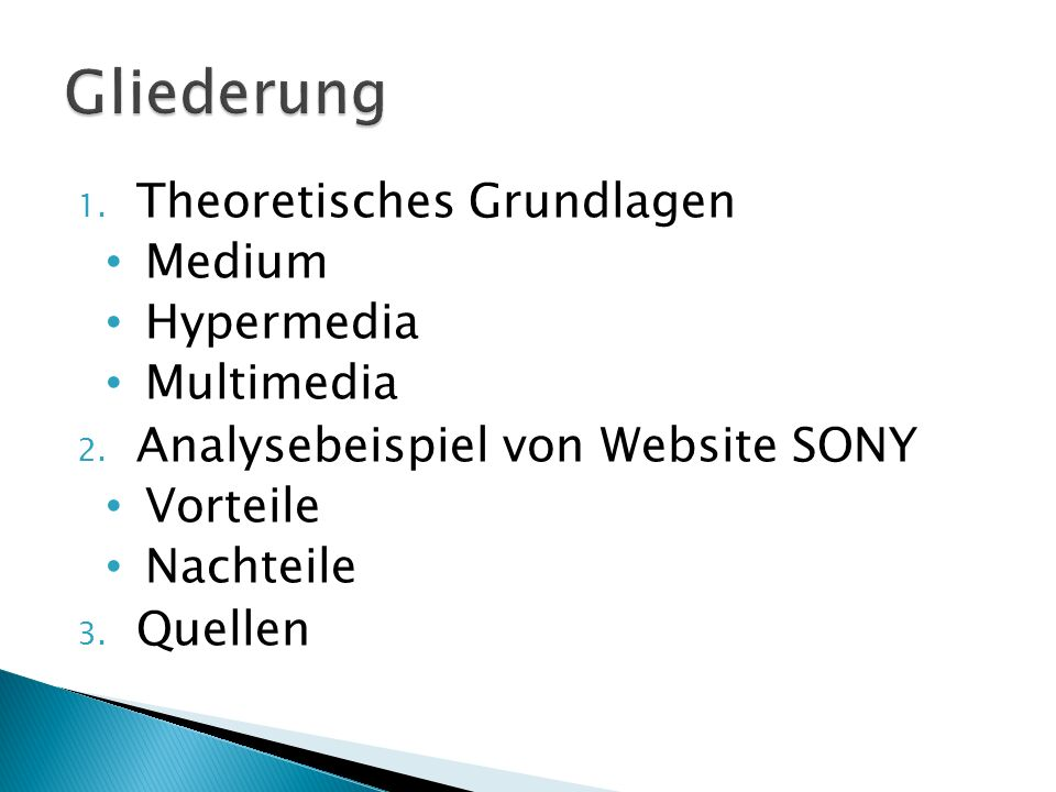 1. Theoretisches Grundlagen Medium Hypermedia Multimedia 2.