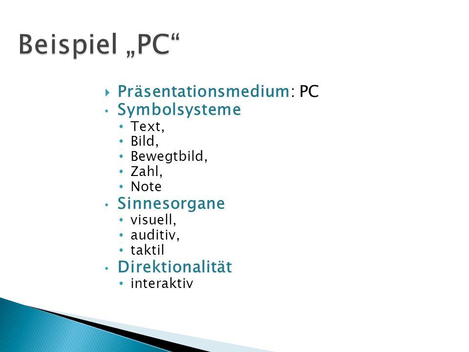 Präsentationsmedium: PC Symbolsysteme Text, Bild, Bewegtbild, Zahl, Note Sinnesorgane visuell, auditiv, taktil Direktionalität interaktiv