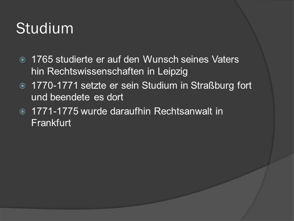 Sturm und Drang 1771 schrieb er erstmals die Geschichte Gottfriedens von Berlichingen mit der eisernen Hand, welches er 1773 in Götz von Berlichingen umbenannte 1774 schrieb er Die Leiden des jungen Werthers in dem er seine unerfüllte Liebe zu Charlotte Buff die Verlobte seines Arbeitskollegen Kestner verarbeitete.