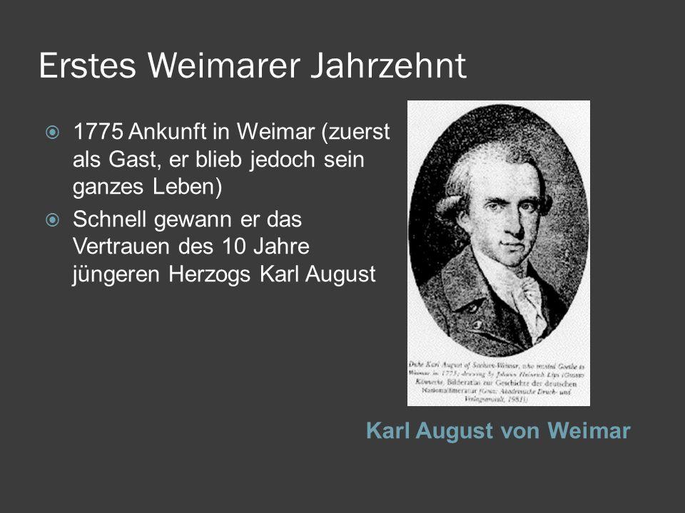 Erstes Weimarer Jahrzehnt Karl August von Weimar 1775 Ankunft in Weimar (zuerst als Gast, er blieb jedoch sein ganzes Leben) Schnell gewann er das Ver