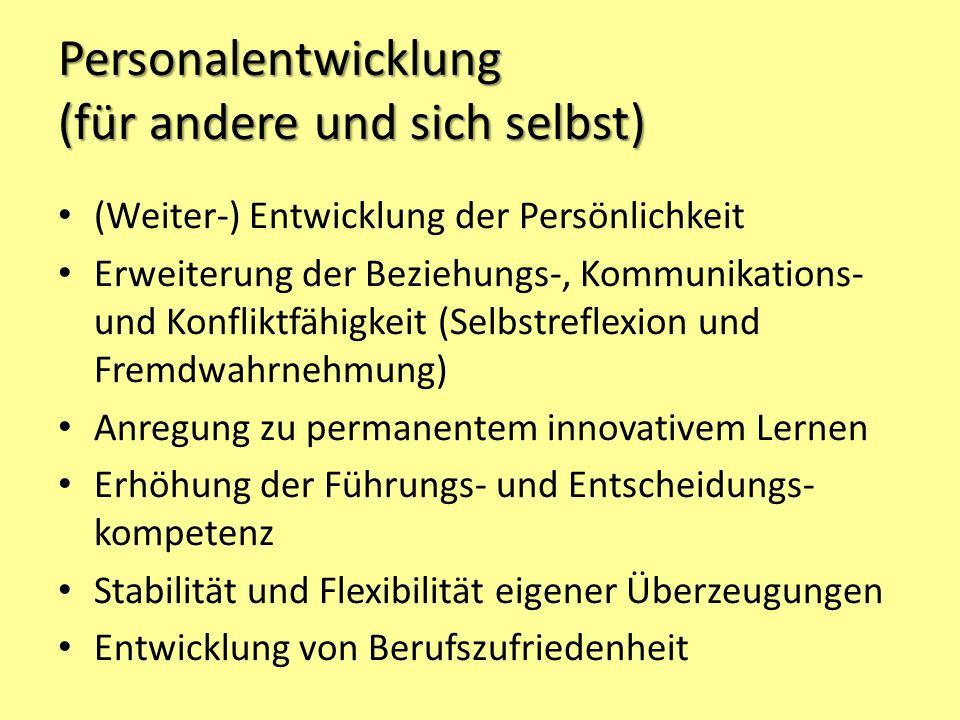 Personalentwicklung (für andere und sich selbst) (Weiter-) Entwicklung der Persönlichkeit Erweiterung der Beziehungs-, Kommunikations- und Konfliktfäh