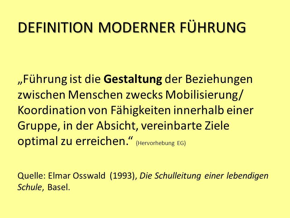 DEFINITION MODERNER FÜHRUNG Führung ist die Gestaltung der Beziehungen zwischen Menschen zwecks Mobilisierung/ Koordination von Fähigkeiten innerhalb