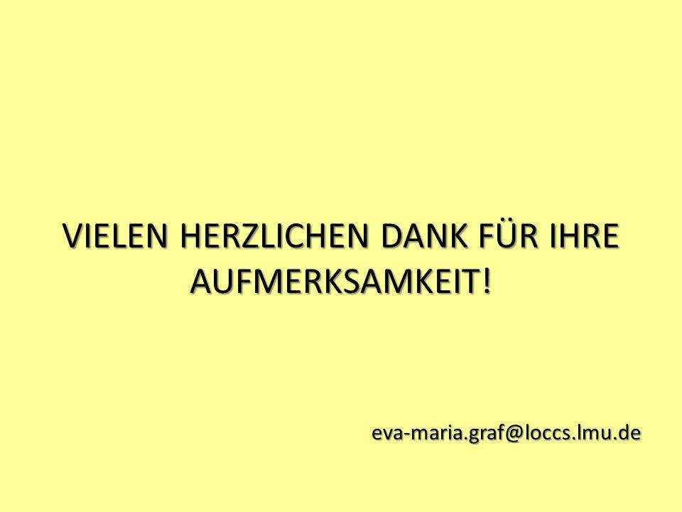 VIELEN HERZLICHEN DANK FÜR IHRE AUFMERKSAMKEIT! eva-maria.graf@loccs.lmu.de