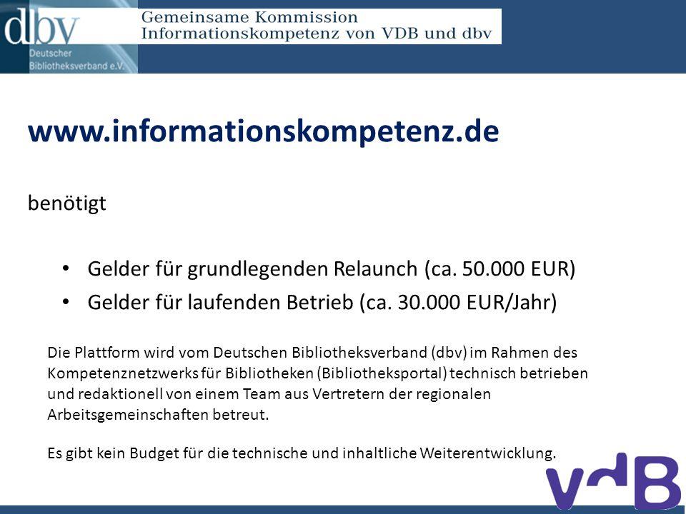 www.informationskompetenz.de benötigt Gelder für grundlegenden Relaunch (ca.