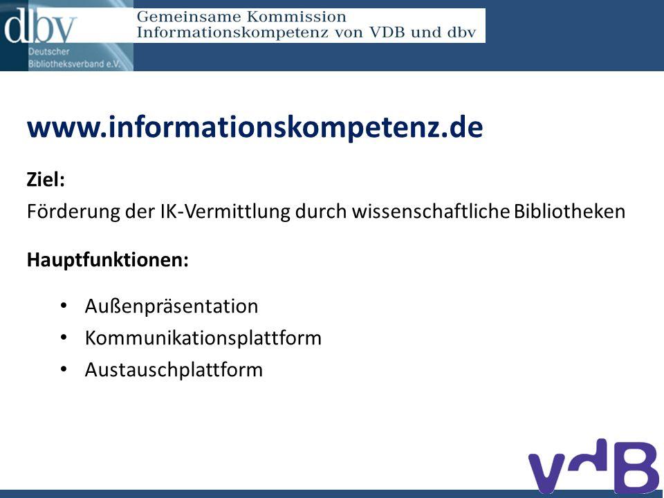 www.informationskompetenz.de Ziel: Förderung der IK-Vermittlung durch wissenschaftliche Bibliotheken Hauptfunktionen: Außenpräsentation Kommunikationsplattform Austauschplattform
