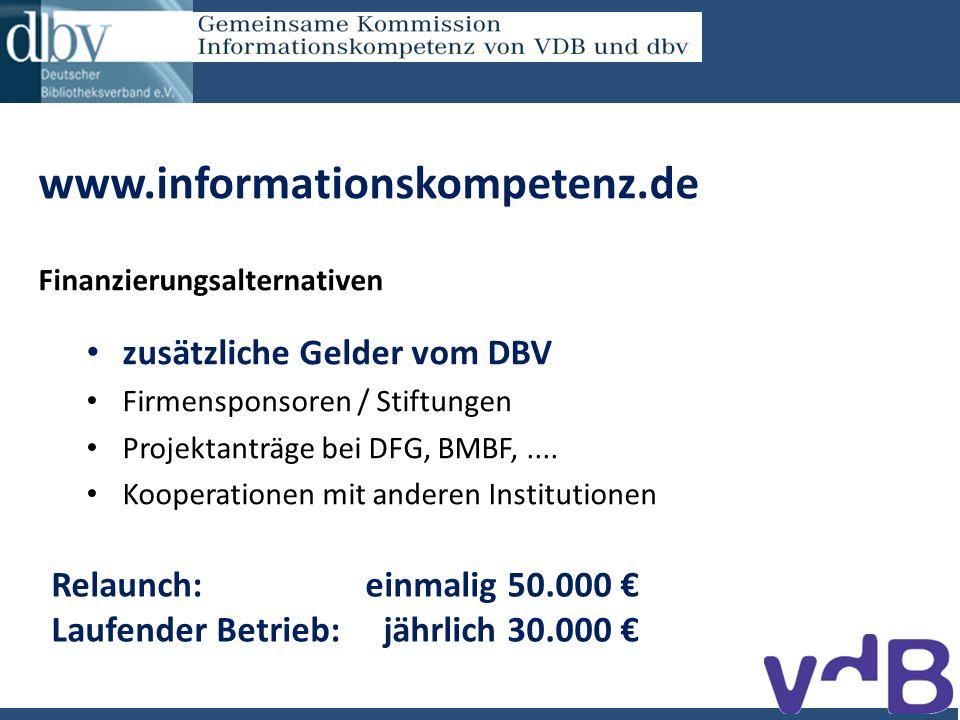 www.informationskompetenz.de Finanzierungsalternativen zusätzliche Gelder vom DBV Firmensponsoren / Stiftungen Projektanträge bei DFG, BMBF,....