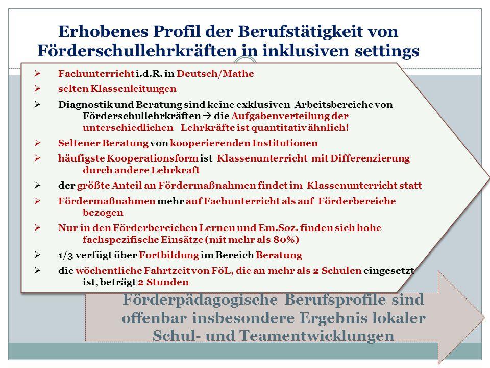 Fachunterricht i.d.R. in Deutsch/Mathe selten Klassenleitungen Diagnostik und Beratung sind keine exklusiven Arbeitsbereiche von Förderschullehrkräfte