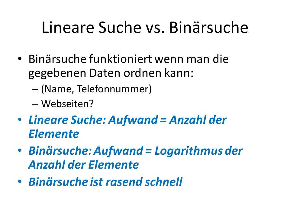 Lineare Suche vs. Binärsuche Binärsuche funktioniert wenn man die gegebenen Daten ordnen kann: – (Name, Telefonnummer) – Webseiten? Lineare Suche: Auf