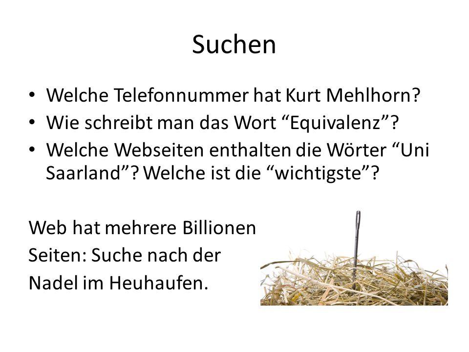 Suchen Welche Telefonnummer hat Kurt Mehlhorn? Wie schreibt man das Wort Equivalenz? Welche Webseiten enthalten die Wörter Uni Saarland? Welche ist di
