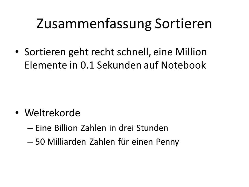 Zusammenfassung Sortieren Sortieren geht recht schnell, eine Million Elemente in 0.1 Sekunden auf Notebook Weltrekorde – Eine Billion Zahlen in drei S
