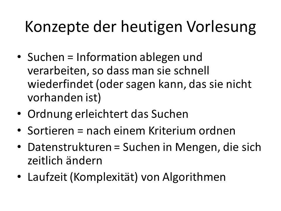 Konzepte der heutigen Vorlesung Suchen = Information ablegen und verarbeiten, so dass man sie schnell wiederfindet (oder sagen kann, das sie nicht vor