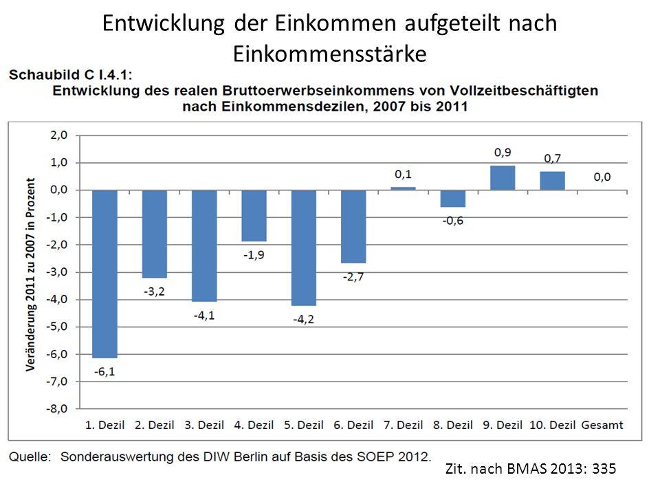 Entwicklung der Einkommen aufgeteilt nach Einkommensstärke Zit. nach BMAS 2013: 335