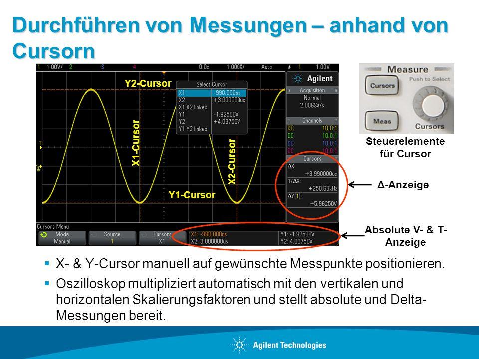 Durchführen von Messungen – anhand von Cursorn X- & Y-Cursor manuell auf gewünschte Messpunkte positionieren. Oszilloskop multipliziert automatisch mi
